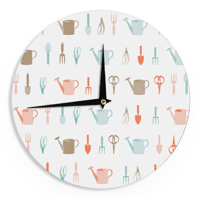 """Afe Images Abstract Gardening Tools Pattern 12"""" Wall Clock EAAH2148 38572314"""