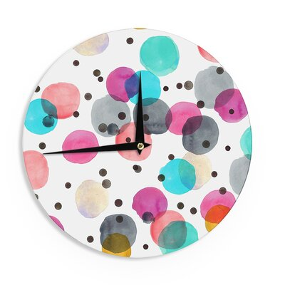 "Crystal Walen 'Festive Watercolor Dots ' 12"" Wall Clock EAAH2409 38572575"
