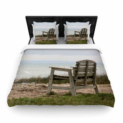Angie Turner Beach Bench Woven Duvet Cover Size: Full/Queen