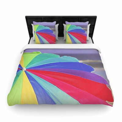 Angie Turner Beach Umbrella Photography Woven Duvet Cover Size: Full/Queen