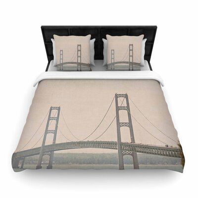 Angie Turner Mackinac Bridge Travel Woven Duvet Cover Size: King