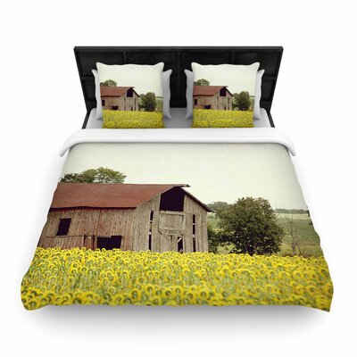 Angie Turner Field of Sunflowers Woven Duvet Cover Size: King
