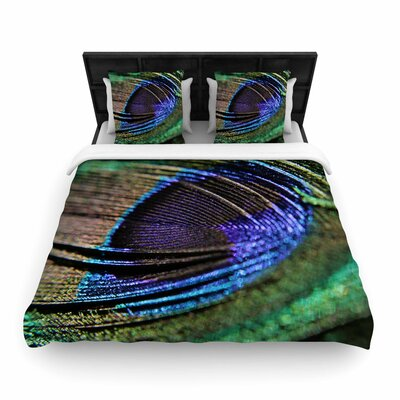 Angie Turner Peacock Feather Woven Duvet Cover Size: King