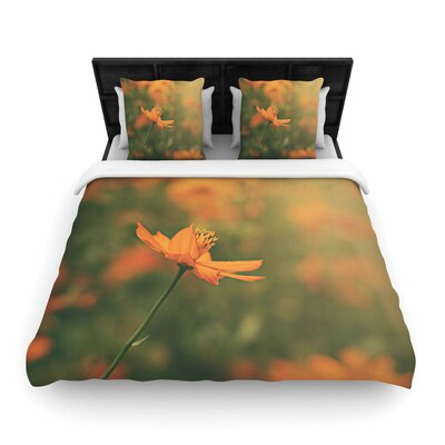Angie Turner Orange Cosmo Digital Floral Woven Duvet Cover Size: Full/Queen