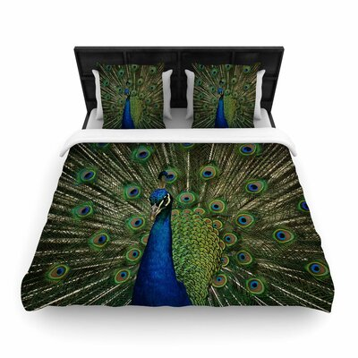 Angie Turner Proud Peacock Animals Woven Duvet Cover Size: King