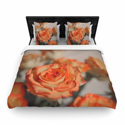 Angie Turner Roses Floral Woven Duvet Cover Size: Full/Queen