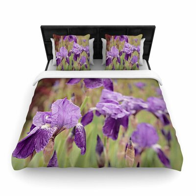 Angie Turner Purple Irises Floral Woven Duvet Cover Size: Full/Queen