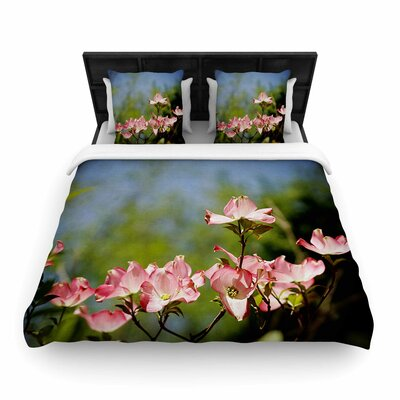 Angie Turner Pink Dogwood Digital Floral Woven Duvet Cover Size: Full/Queen