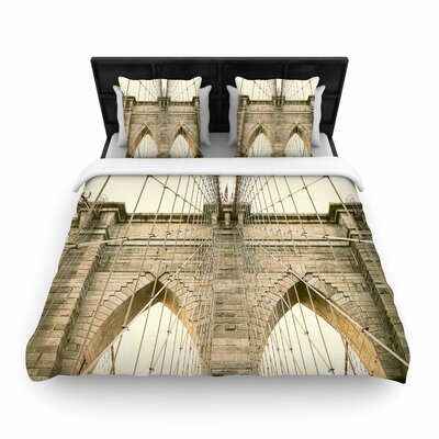 Ann Barnes Brooklyn Bridge Sunset Photography Woven Duvet Cover Size: King