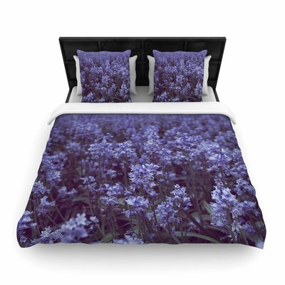 Ann Barnes Bluebell Forest Flowers Woven Duvet Cover Size: Full/Queen