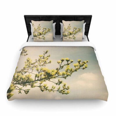 Angie Turner Yellow Magnolias Photography Woven Duvet Cover Size: Twin