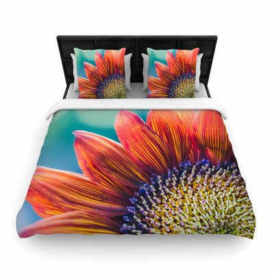 Ann Barnes Fire and Ice Flower Bokeh Woven Duvet Cover Size: Full/Queen