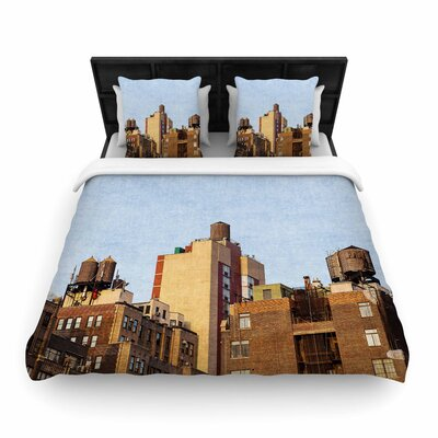 Ann Barnes Vintage NYC Cityscape Woven Duvet Cover Size: King