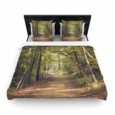 Ann Barnes Forest Light Photography Trees Woven Duvet Cover Size: King