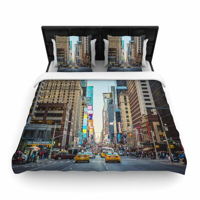 Ann Barnes Sunset Over 7Th Urban Photography Woven Duvet Cover Size: King