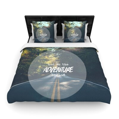 Ann Barnes The Adventure Begins Woven Duvet Cover Size: King
