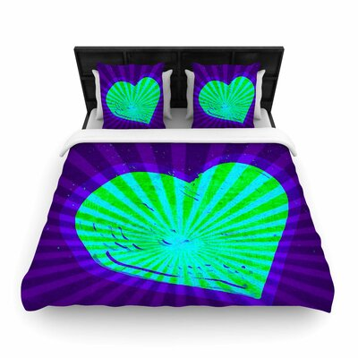 Anne LaBrie Love Light Beams Modern Woven Duvet Cover Color: Purple, Size: Twin