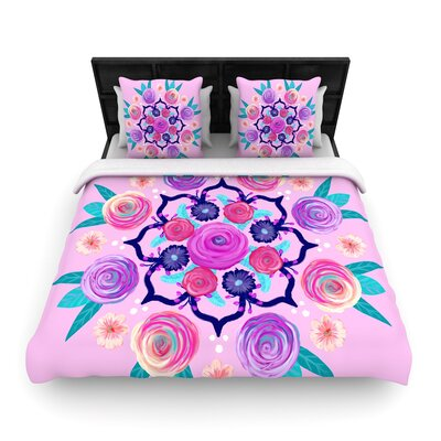 Anneline Sophia Expressive Blooms Mandala Floral Woven Duvet Cover Size: Full/Queen
