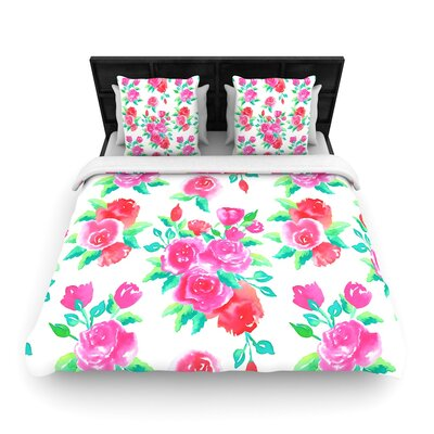 Anneline Sophia Pink Roses Floral Woven Duvet Cover Size: Twin