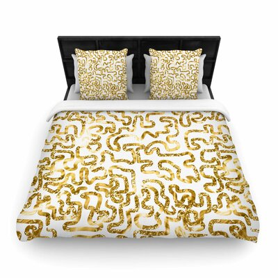 Anneline Sophia Squiggles Woven Duvet Cover Size: King, Color: Gold