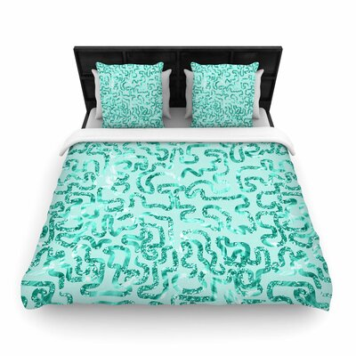 Anneline Sophia Squiggles Woven Duvet Cover Size: King, Color: Teal