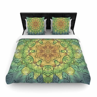 Art Love Passion Celtic Golden Flower Geometric Woven Duvet Cover Size: King