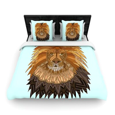 Art Love Passion Lion Woven Duvet Cover Size: Full/Queen