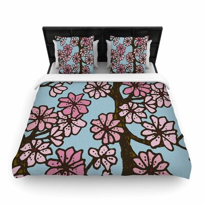 Art Love Passion Cherry Blossom Day Floral Illustration Woven Duvet Cover Color: Aqua Pink, Size: King