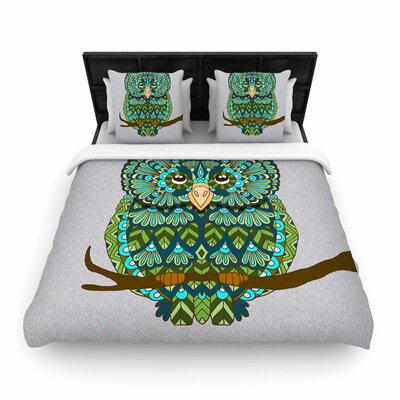 Art Love Passion Great Green Owl Woven Duvet Cover Size: Full/Queen