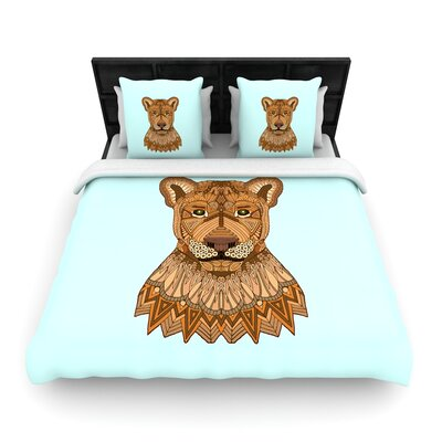Art Love Passion Lioness Woven Duvet Cover Size: King