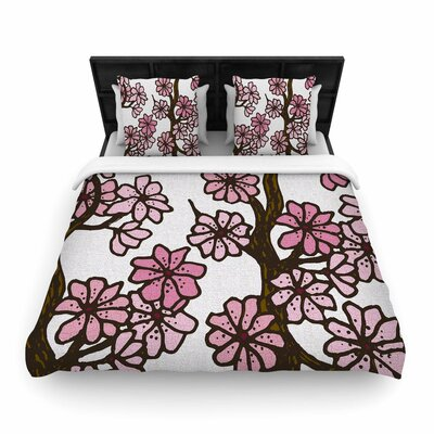 Art Love Passion Cherry Blossom Day Floral Illustration Woven Duvet Cover Color: White Pink, Size: Twin