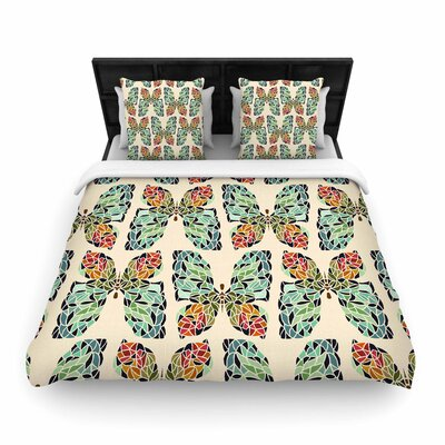 Art Love Passion Butterfly Pattern Woven Duvet Cover Size: Twin