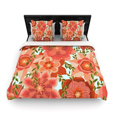 Art Love Passion Flower Power Floral Woven Duvet Cover Size: King