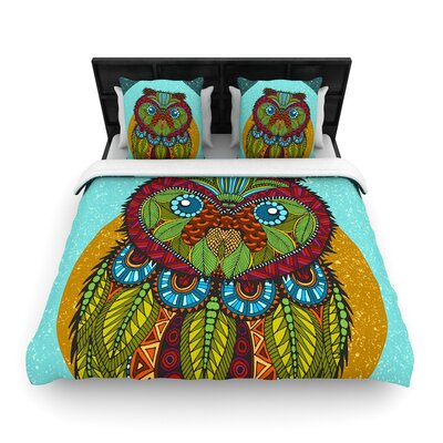 Art Love Passion Owl Woven Duvet Cover Size: King
