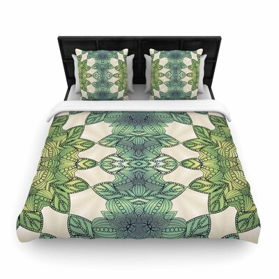 Art Love Passion Forest Leaves Celtic Abstract Woven Duvet Cover Size: King