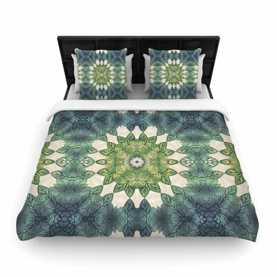 Art Love Passion Forest Leaves Repeat Geometric Woven Duvet Cover Size: Full/Queen