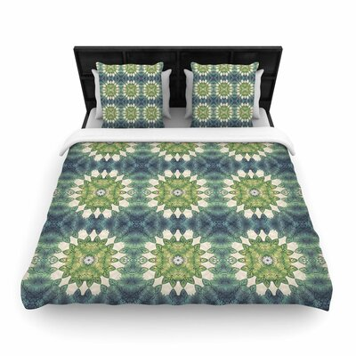 Art Love Passion Forest Leaves Pattern Geometric Woven Duvet Cover Size: Full/Queen