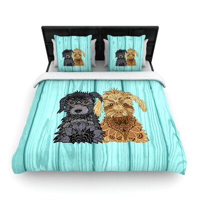 Art Love Passion Daisy and Gatsby Abstract Puppies Woven Duvet Cover Size: King