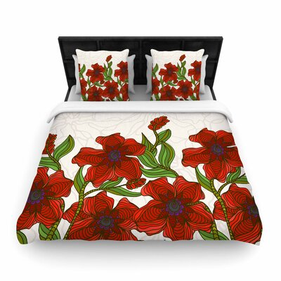Art Love Passion Poppy Field Woven Duvet Cover Size: Twin