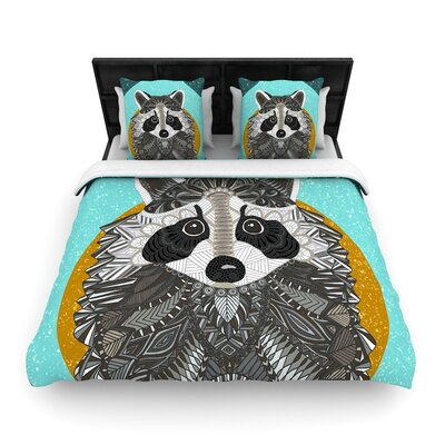 Art Love Passion Racoon in Grass Woven Duvet Cover Size: Full/Queen