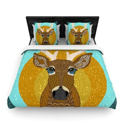 Art Love Passion Stag in Grass Woven Duvet Cover Size: Full/Queen