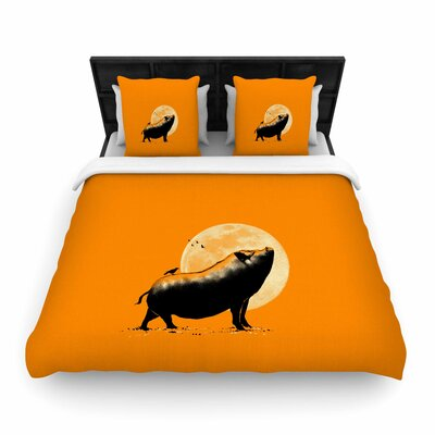 Barking Pig Woven Duvet Cover Size: King