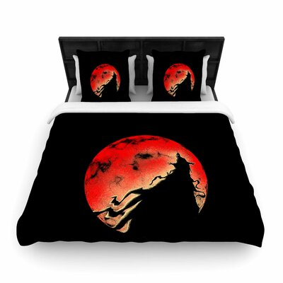 BarmalisiRTB Black Cloak Moon Woven Duvet Cover Size: Full/Queen