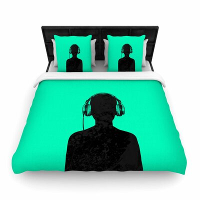 BarmalisiRTB Black Music Woven Duvet Cover Size: Twin