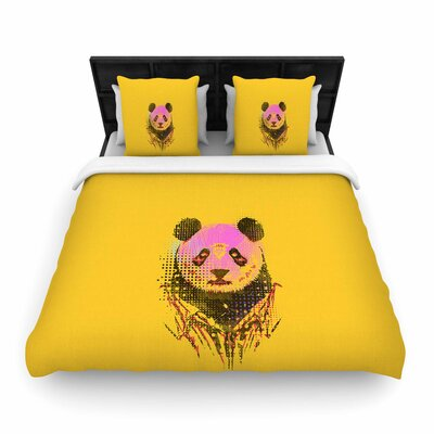 Dandy Panda Woven Duvet Cover Size: King