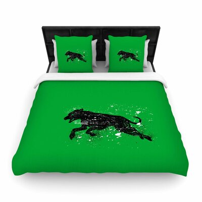 Black Dog Animal Woven Duvet Cover Size: Twin