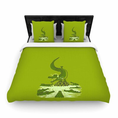 Breakdance Crocodile Woven Duvet Cover Size: King