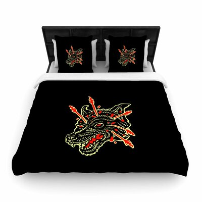 'Dead Wolf' Animals Woven Duvet Cover Size: Twin