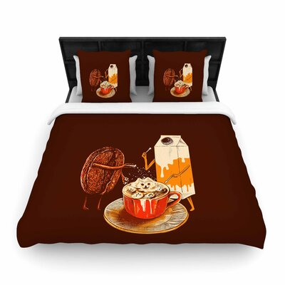 BarmalisiRTB Latte Art Illustration Woven Duvet Cover Size: King