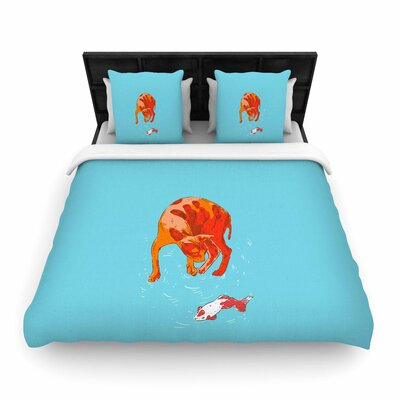 Koi Cat Woven Duvet Cover Size: Full/Queen